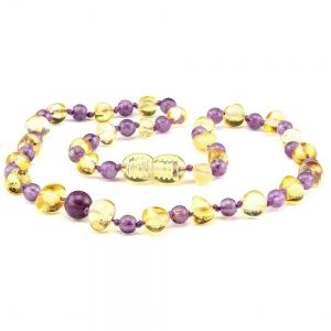 Amber Baby NECKLACE Lemon and Amethyst