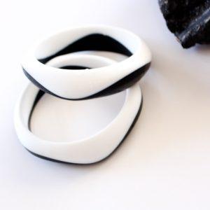 Silicone Bangle Colour Duo - Black and White