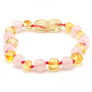 Amber BABY Bracelet Multi Lemon & Rose Quartz | 14cm