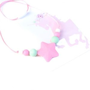 Junior Silicone Necklace Star Pink