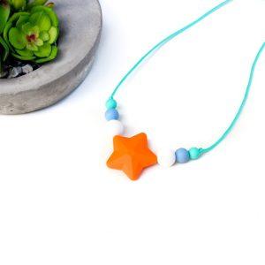 Junior Silicone Necklace Star Orange
