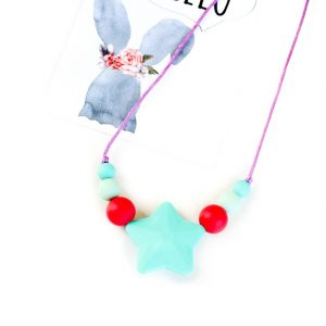 Junior Silicone Necklace Star Turquoise