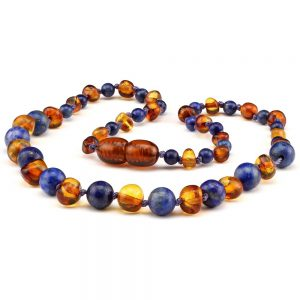 Amber Baby NECKLACE Cognac and Lapis Lazuli | 32cm