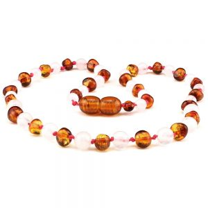 Amber Teething Necklace Baby Cognac and rose quartz 32cm