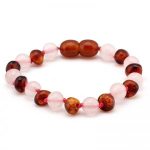 amber teething bracelet cognac and rose quartz